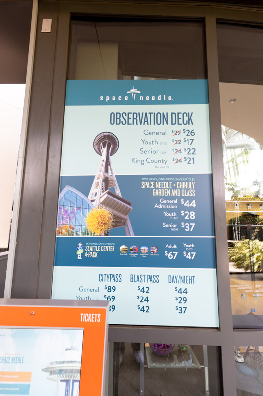 space needle cost of admission