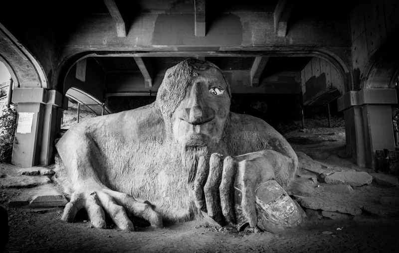 fremont troll seattle black and white photo